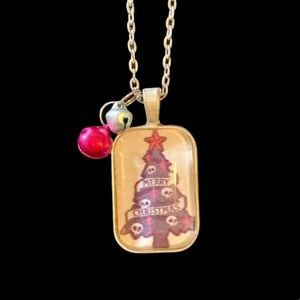 Merry Christmas Tree with Skull Garland Necklace